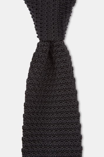 Moss London Black Knitted Tie