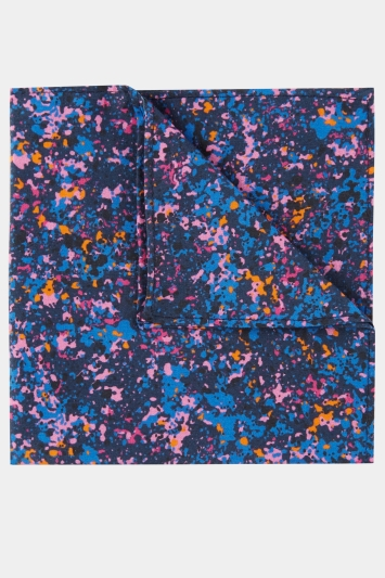 Moss London Navy, Pink & Orange Splatter Print Cotton Pocket Square