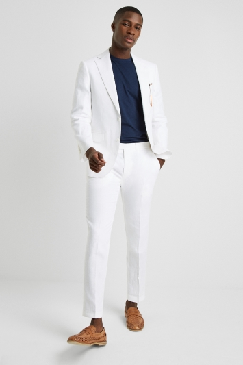 Moss 1851 Tailored Fit White Linen Jacket
