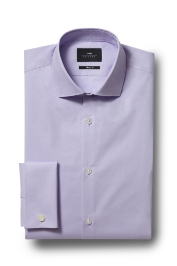 Moss London Skinny Fit Lilac Double Cuff Stretch Shirt