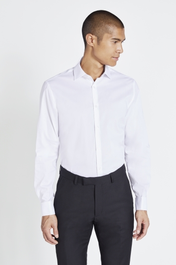 Moss London Skinny Fit White Double Cuff Stretch Shirt
