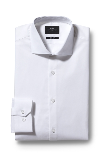 Moss London Tailored Fit White Single cuff Stretch Poplin Shirt
