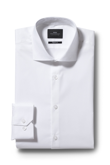 Moss London Regular Fit White Single Cuff Stretch Poplin Shirt
