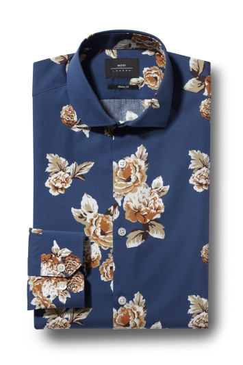 Moss London Skinny Fit Rust Single Cuff Floral Print Shirt