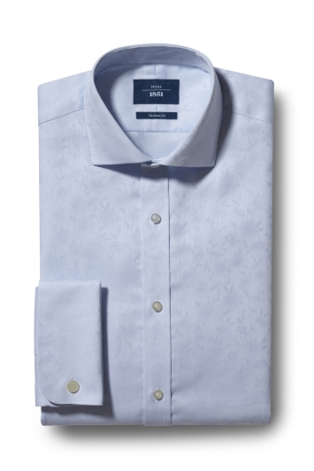 Moss 1851 Tailored Fit Sky Double Cuff Jacquard Shirt