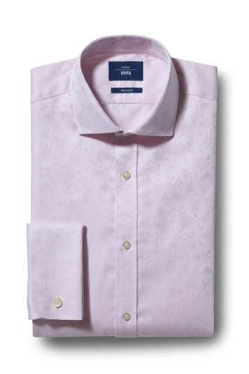 Moss 1851 Tailored Fit Pink Double Cuff Jacquard Shirt