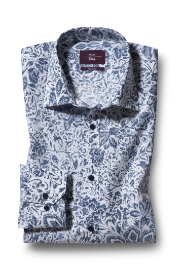 Moss Esq. Regular Fit Navy Single Cuff Floral Print
