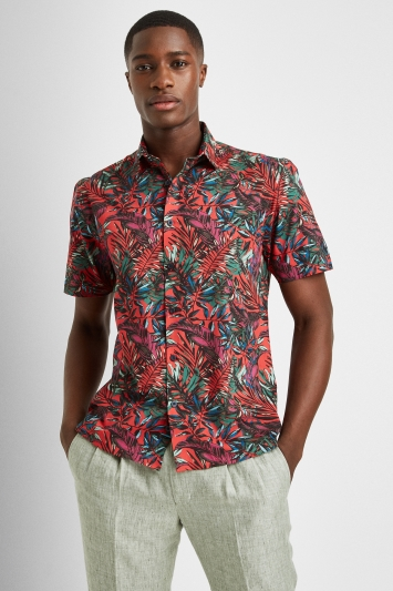 Moss London Skinny Fit Red Short Sleeve Tropical Leaf Shirt