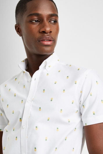 Moss London Casual Skinny Fit White Short Sleeve Pineapple Oxford