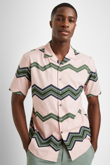 Moss London Casual Skinny Fit Pink Short Sleeve Chevron Shirt