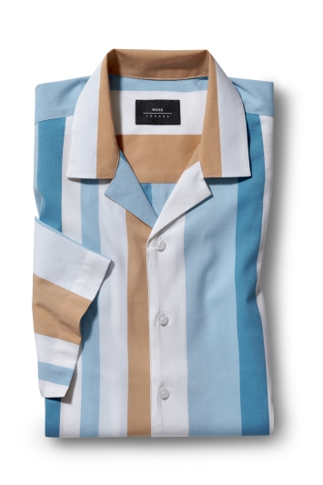Moss London Casual Blue Short Sleeve Stripe Shirt