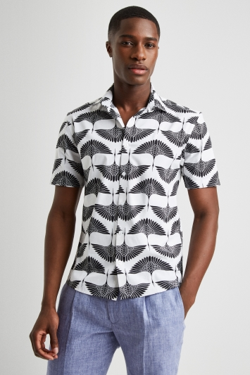 Moss London Casual Black & White Short Sleeve Bird Print Shirt