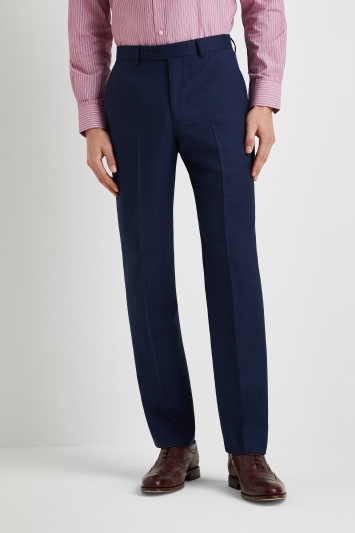Moss Esq. Regular Fit Blue Semi Plain Trousers