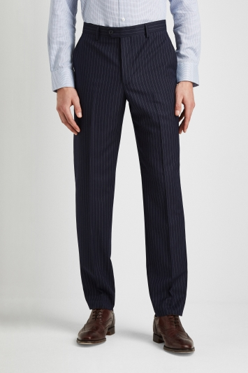Moss Esq Regular Fit Navy Stripe Trousers