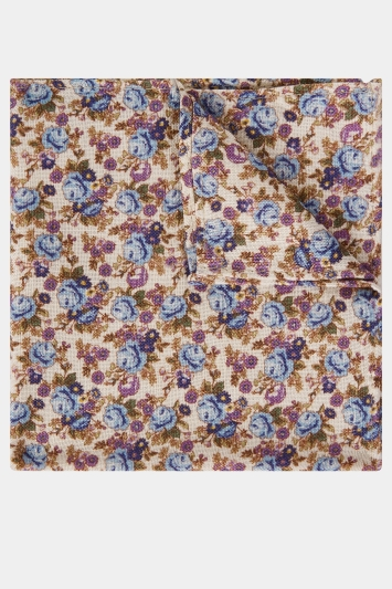 Moss London Ecru with Blue & Purple Rose Print Pocket Square
