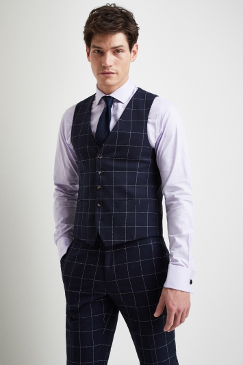 Moss London Slim Fit Boucle Windowpane Waistcoat