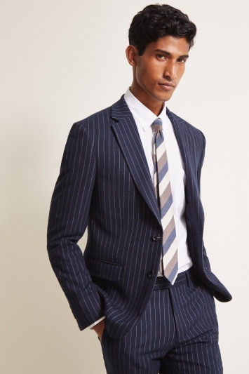 Moss London Slim Fit Navy Stripe Jacket