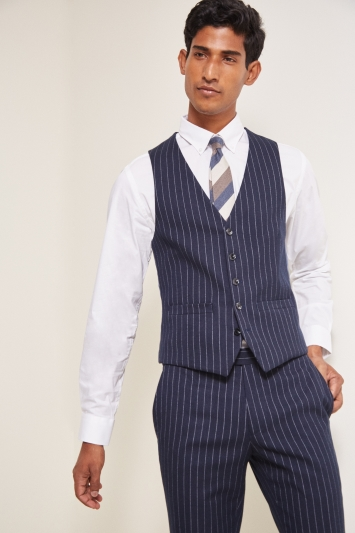 Moss London Slim Fit Navy Stripe Waistcoat