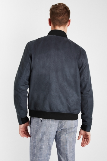 Moss London Slim Fit Slate Grey Suedette Funnel Neck Jacket