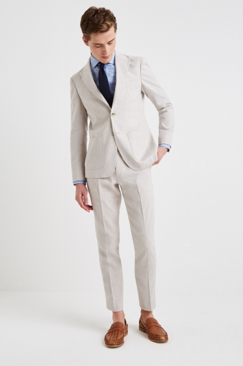 Moss London Slim Fit Beige Linen Jacket