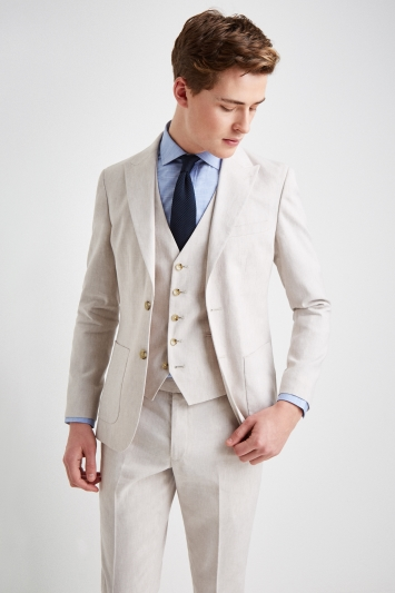 6557254df9 Moss London Slim Fit Beige Lightweight Linen Jacket