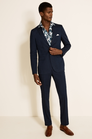 Moss London Slim Fit Navy Lightweight Linen Jacket