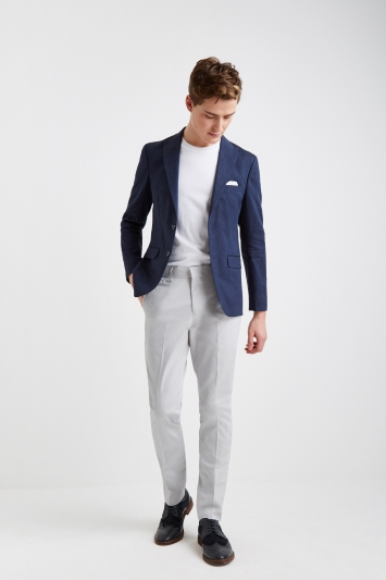 Moss London Slim Fit Navy Linen Jacket
