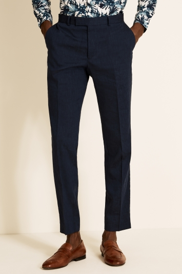 Moss London Slim Fit Navy Linen Trousers