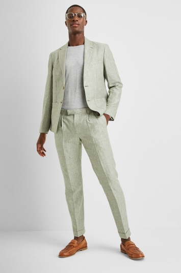 Moss London Premium Slim Fit Sage Green Linen Lightweight Jacket