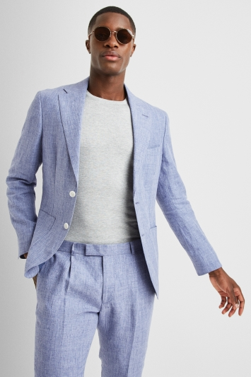 Moss London Premium Slim Fit Blue Linen Lightweight Jacket