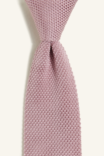 Moss 1851 Light Pink Knitted Silk Tie
