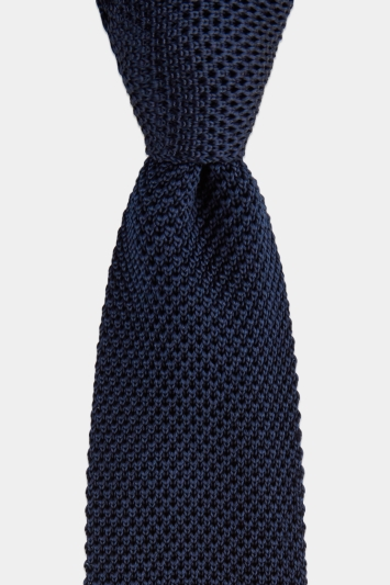 Moss 1851 Navy Knitted Tie