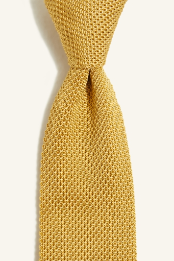 Moss 1851 Gold Knitted Silk Tie