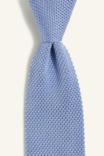 Moss 1851 Light Blue Knitted Silk Tie