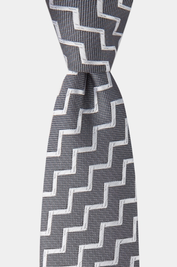 Moss London Charcoal with Silver Zig Zag Stripe Tie