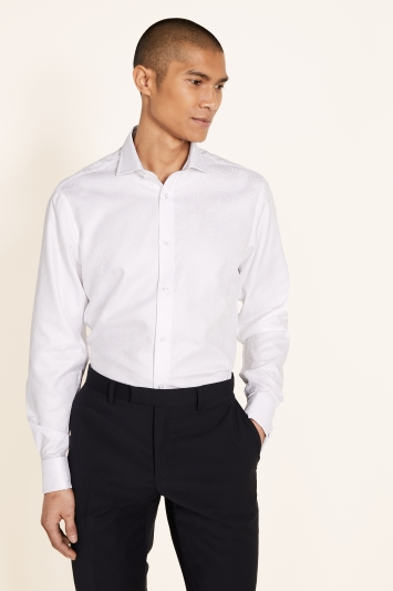 Moss 1851 Tailored Fit White Double Cuff Brocade Shirt