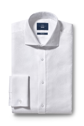 Moss 1851 Skinny Fit White Double Cuff Brocade Shirt
