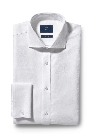 Moss 1851 Regular Fit White Double Cuff Brocade Shirt