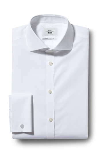 Moss 1851 Extra Slim Fit White Double Cuff Zero Iron Shirt
