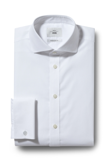 Moss 1851 Regular Fit White Double Cuff Zero Iron Shirt