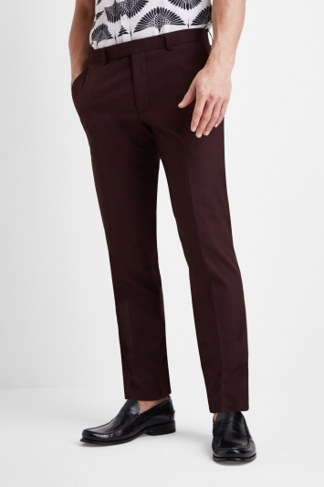 Moss London Slim Fit Burgundy Trousers
