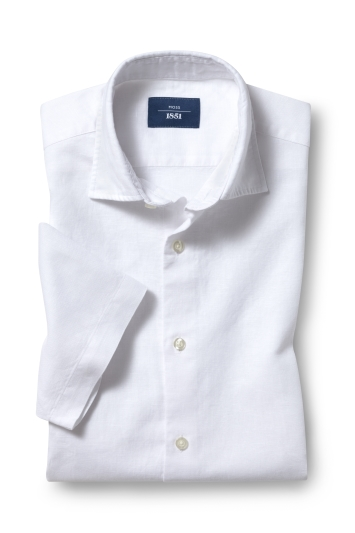 Moss 1851 Tailored Fit White Short Sleeve Linen Shirt