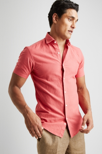 Moss 1851 Tailored Fit Red Short Sleeve Linen Shirt