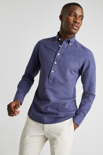 Moss 1851 Tailored Fit Indigo Long Sleeve Linen Popover Shirt