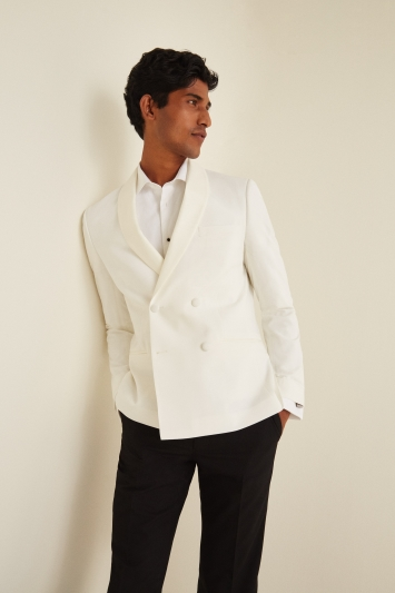 Moss London Slim Fit White Tuxedo Double Breasted Jacket