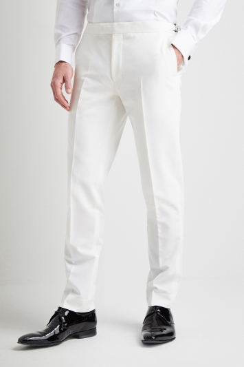 Moss London Slim Fit White Tuxedo Trousers