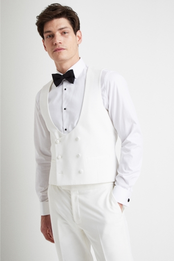 Moss London Slim Fit White Tuxedo Double Breasted Waistcoat
