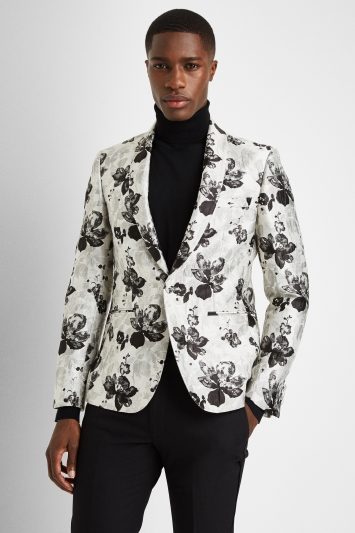 Moss London Sim Fit Black and White Floral Dress Jacket