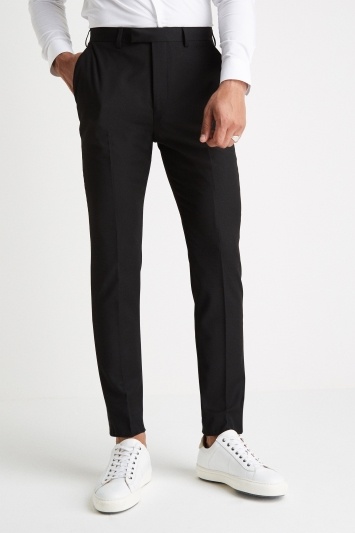 Moss London Slim Muscle Fit Black Trousers