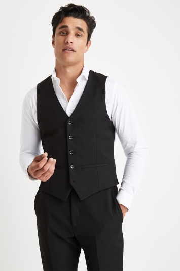 Moss London Slim Muscle Fit Black Waistcoat